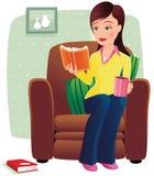 Muchacha que se relaja en silla Ilustración del Vector