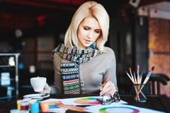 Muchacha que se sienta en café con la taza de café y de dibujo Imágenes de archivo libres de regalías