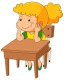 Muchacha que se sienta en el escritorio de madera libre illustration