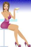 Muchacha que se sienta en la barra libre illustration