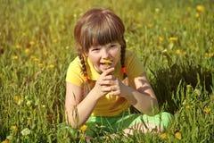 Muchacha que se sienta en la hierba con el diente de león Foto de archivo libre de regalías