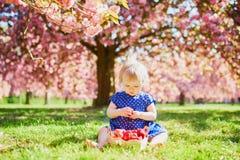 Muchacha que se sienta en la hierba y que come las fresas foto de archivo libre de regalías