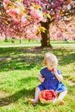 Muchacha que se sienta en la hierba y que come las fresas foto de archivo