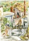Muchacha que se sienta en las escaleras de piedra libre illustration
