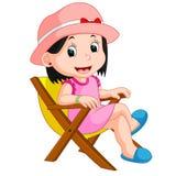 Muchacha que se sienta en silla stock de ilustración