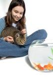 Muchacha que sostiene el gato hambriento Imagenes de archivo
