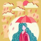 Muchacha que sostiene el paraguas en día lluvioso ilustración del vector