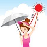 Muchacha que sostiene el paraguas infeliz con la luz de Sun Imágenes de archivo libres de regalías