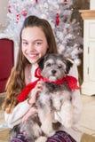Muchacha que sostiene el perrito en la Navidad Imagen de archivo libre de regalías