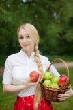 Muchacha que sostiene la cesta con las manzanas rojas y verdes en el parque Imagen de archivo