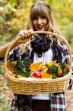 muchacha que sostiene la cesta llena de manzanas Imagen de archivo