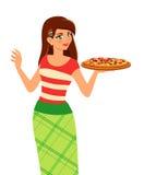 Muchacha que sostiene la placa con la pizza sabrosa Imagen de archivo