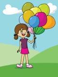 Muchacha que sostiene los globos coloridos Imagen de archivo libre de regalías