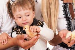 Muchacha que sostiene un pollo Fotos de archivo