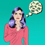 Muchacha que sueña sobre el dinero Sueño de la mujer Mujer atractiva Imagenes de archivo