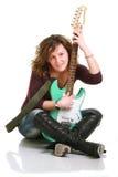 Muchacha que toca la guitarra Imagen de archivo libre de regalías