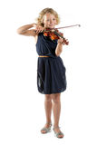 Muchacha que toca un violín en el fondo blanco Imagen de archivo