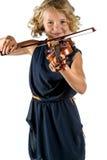 Muchacha que toca un violín en el fondo blanco Imágenes de archivo libres de regalías
