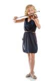 Muchacha que toca un violín en el fondo blanco Fotografía de archivo