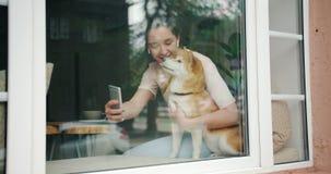 Muchacha que toma el selfie con el perro que se sienta en travesaño de la ventana en café usando smartphone almacen de video
