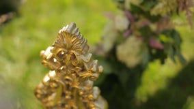 Muchacha que trae en una decoración de oro lujosa para una composición floral del verano al aire libre almacen de metraje de vídeo