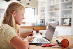 Muchacha que usa el ordenador portátil en casa Imagenes de archivo