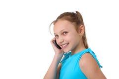 Muchacha que usa el teléfono móvil Imagen de archivo