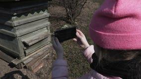 Muchacha que usa smartphone cerca de colmena de la abeja almacen de metraje de vídeo
