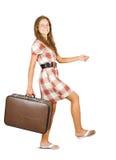 Muchacha que va con la maleta Imágenes de archivo libres de regalías