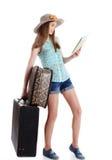 Muchacha que va en un viaje, fondo blanco Imágenes de archivo libres de regalías