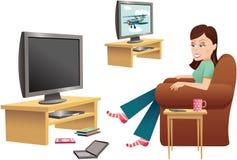 Muchacha que ve la TV en silla ilustración del vector