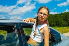 Muchacha que viaja en coche Imagenes de archivo