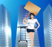 Muchacha que viaja en la ciudad stock de ilustración