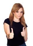 Muchacha rebelde adolescente que dice OK Imagen de archivo libre de regalías