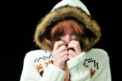 Muchacha redheaded congelada Imagenes de archivo