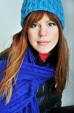 Muchacha Redheaded del invierno Imagen de archivo