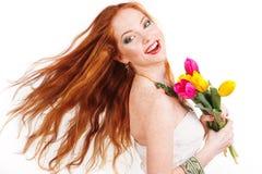 Muchacha redheaded hermosa con el pelo del vuelo Imagenes de archivo