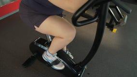 Muchacha regordeta motivada pedaling rápidamente en la bicicleta estática en el gimnasio, entrenamiento activo almacen de metraje de vídeo