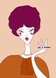 Muchacha retra de la historieta con un cigarrillo Imagenes de archivo