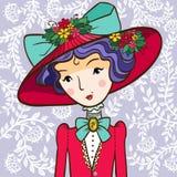 Muchacha retra en un sombrero Imágenes de archivo libres de regalías