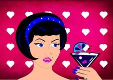 Muchacha retra hermosa con la bebida stock de ilustración