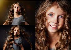 Muchacha rizada con el pelo largo Teniendo en cuenta la llamarada y la vida del goce Un cuento de hadas para los niños Fotos de archivo
