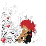 Muchacha rizada, marco de la tarjeta del día de San Valentín ilustración del vector