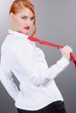 Muchacha roja juguetona del pelo Fotografía de archivo