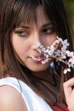 Muchacha romántica adolescente que lleva a cabo la rama del flor de la almendra Fotos de archivo libres de regalías