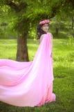 Muchacha romántica de la belleza al aire libre Muchacha modelo adolescente hermosa Dres Imagen de archivo
