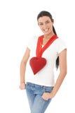 Muchacha romántica en la sonrisa del día de tarjeta del día de San Valentín Imagen de archivo libre de regalías