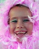 Muchacha rosada de la pluma Foto de archivo libre de regalías