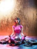 Muchacha rosada del disco Fotos de archivo