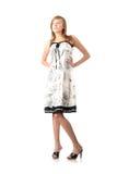 Muchacha rubia adolescente en alineada blanca elegante Foto de archivo